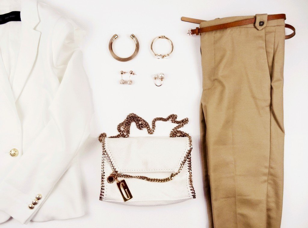 White blazer , camel pants and gold accessories