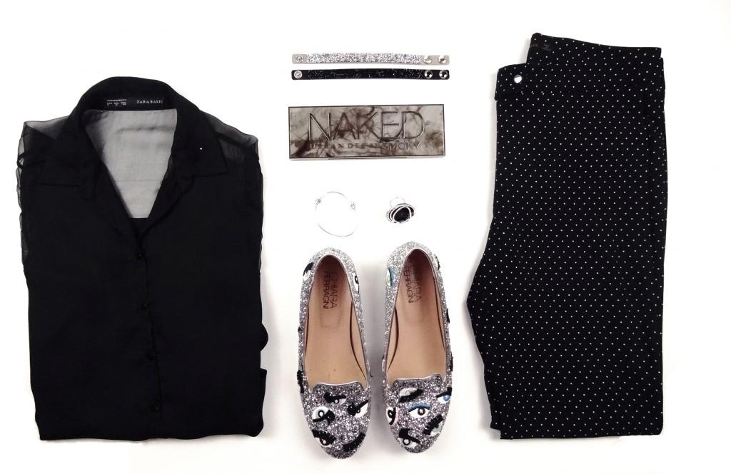 Polka-dot pants and black transparent shirt