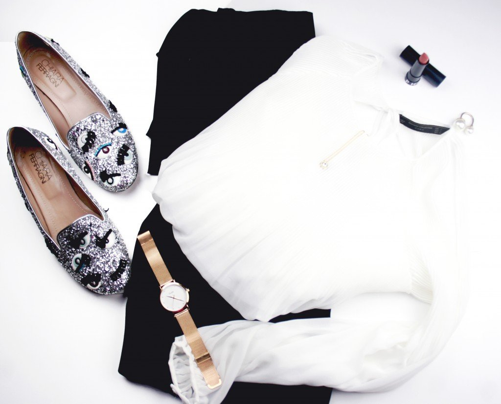 Culotte pants and white blouse