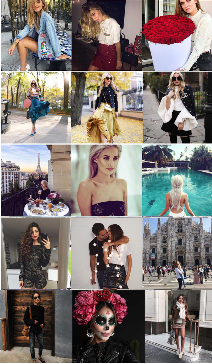 most popular photos on Instagram of the fashion blogger of 2016